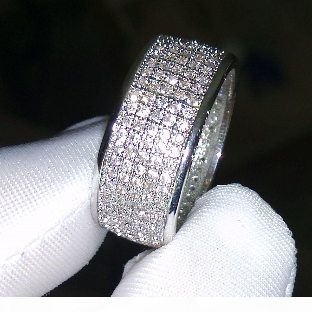250PCS المجوهرات Diamonique محاكاة الماس الأبيض توباز الكامل 10KT الذهب الأبيض معبأ الماس CZ النساء الزفاف الفرقة البنصر هدية سهير محمد 5-11