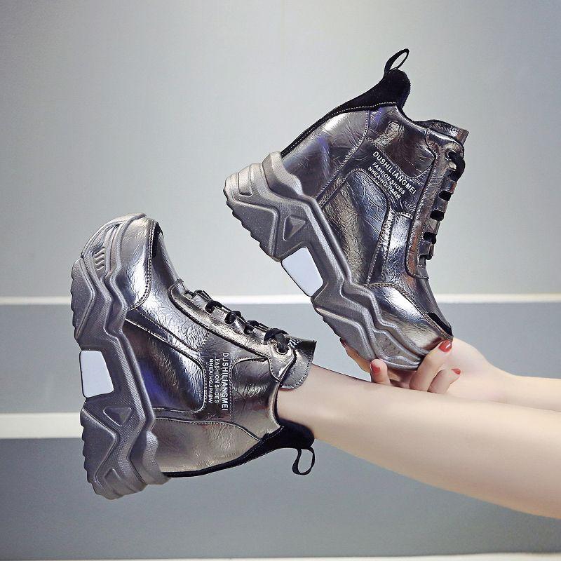 Rimocy металл серебро коренастых платформы кроссовок женщины зима теплая супер высокие каблуки ботинки высота женщина увеличение сапог Mujer CX200724