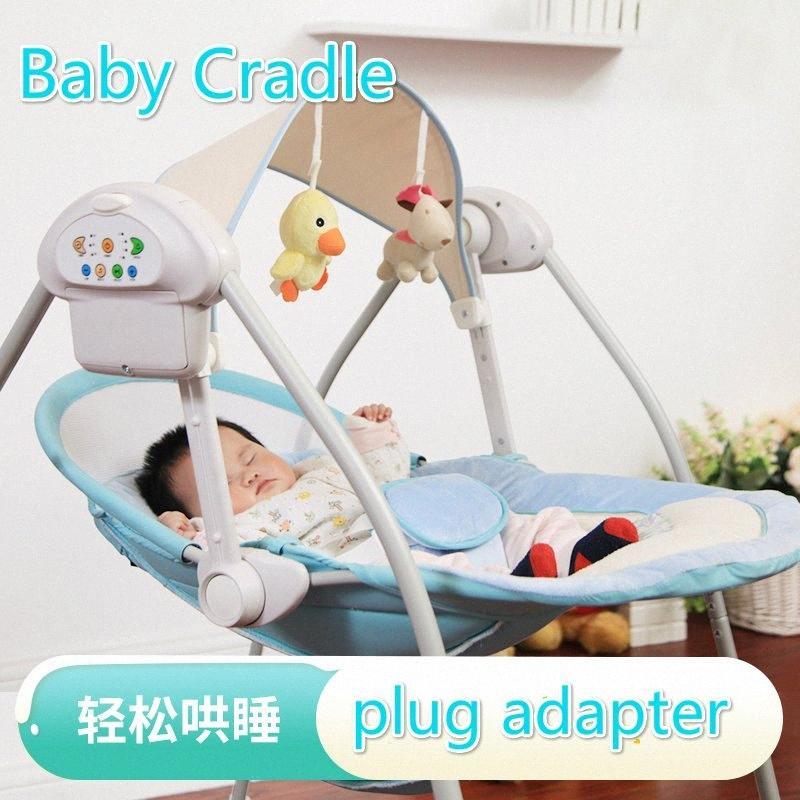 Balancelle Rocking Chair électrique Berceau Berceau Apaisant de couchage pour bébé Panier Bouncer avec Plug Adapter qxR6 #