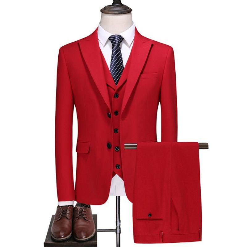 Rot-Mann-Klage Designer Anzug für Hochzeit Slim Fit mit zwei Knöpfen Elegante 3 Stück Smoking-Jacke Herren-Partei formale Klagen