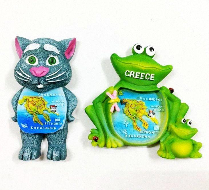Yeni El Yapımı Boyalı Yunanistan Harita Kurbağa Kedi 3D dolabı Mıknatıslar Turizm eşyalar Buzdolabı Manyetik Çıkartma Ana Decortion cBu9 #