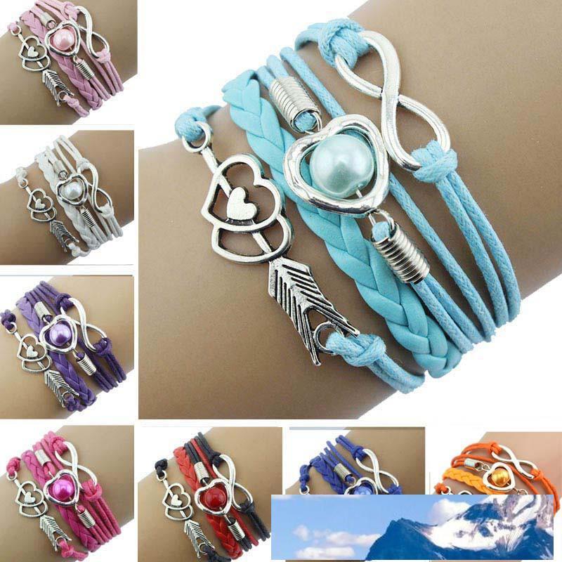 Lederarmbänder für Frauen-Verpackungs-Infinity-Liebe-Herz-Perlen Freundschaft Antik Leder Charm Armband pulseira feminina