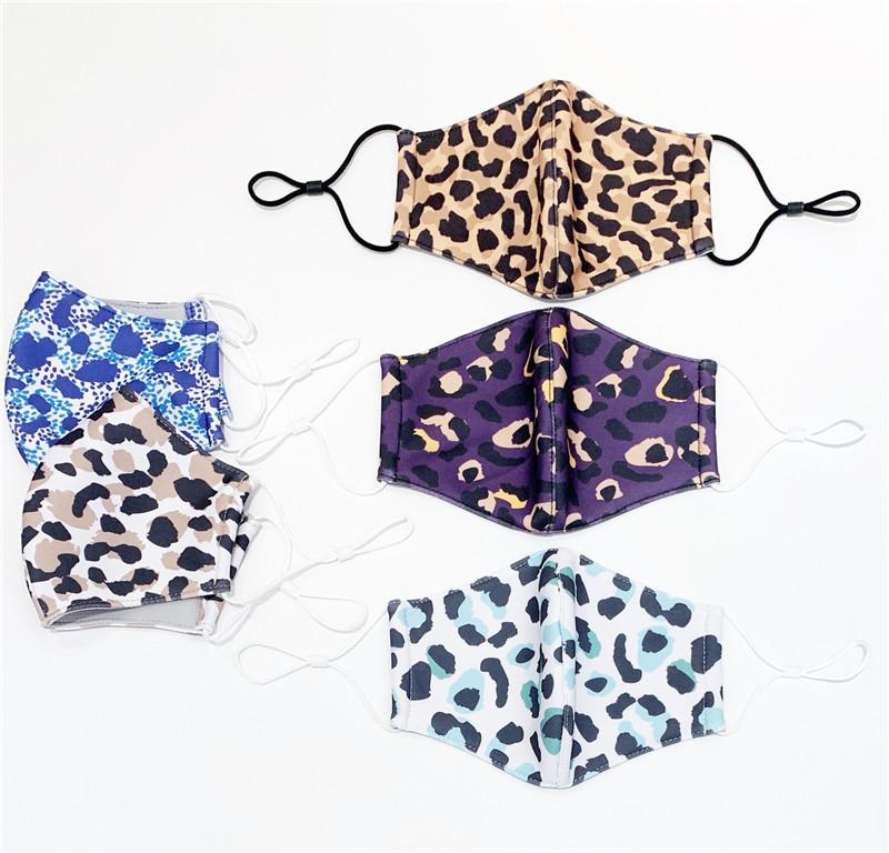 Moda mascarilla de doble capa transpirable leopardo Personalidad Máscara a prueba de polvo reutilizable lavable protectora envío