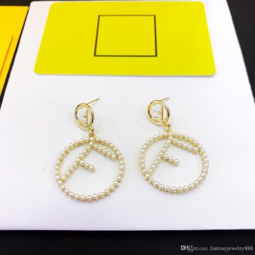 venta mujeres de la joyería nueva letra f completa de la perla pendientes pendientes de diseño del diseñador