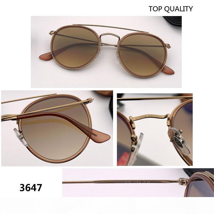 new 2020 SteamPunk Vintage Round Metal Style double bridge Sunglasses mirror uv400 glass Lens flash Sun Glasses Oculos De Sol 3647 gafas