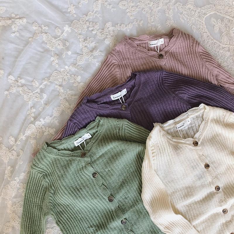 9LDy5 izquierda y dejó la ropa Príncipe 2020 muchachas del estilo de Corea del otoño nuevos encajes ropa de niños coatLace de punto i sol a prueba de niños chaqueta de punto