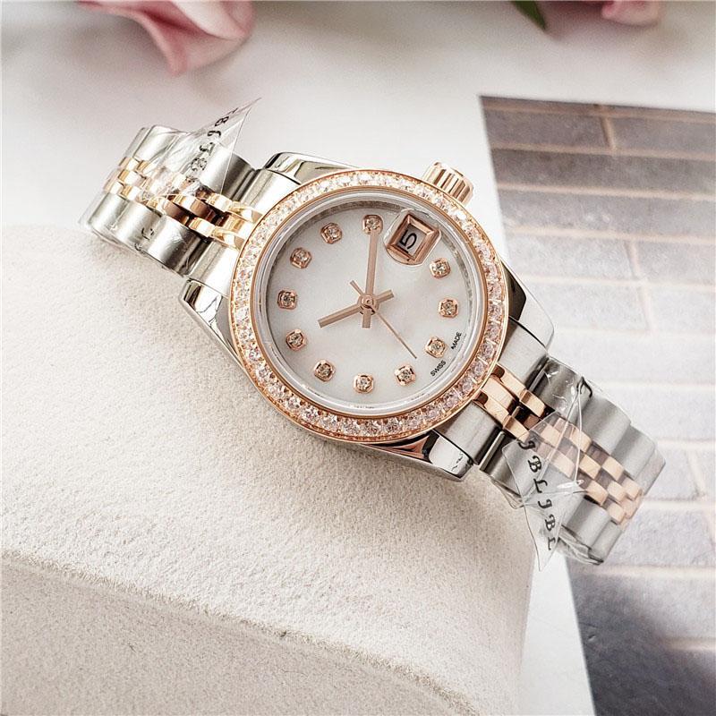 حركة أعلى جودة أزياء المرأة الماس ووتش Desige مثلج خارج الساعات الفولاذ المقاوم للصدأ التلقائي الساعات الميكانيكية 26mm وهدية سيدة ووتش