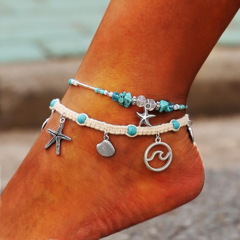 12pcs corde vagues tissé coquille étoile de mer VSCO pied aux pieds nus Bracelet cheville amitié Bracelets de cheville pour les femmes Bohême Plage Leg Bijoux en gros