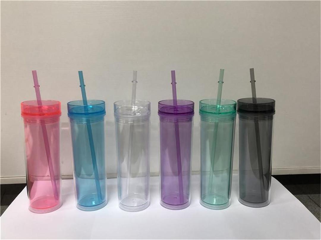 Vaso de plástico transparente con aislamiento de doble pared de 16 oz flaco con tapa y artículos de bebidas reutilizables de paja para la fiesta V01