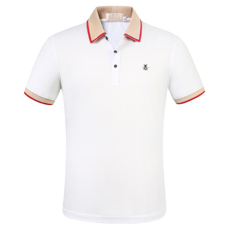 New Designers Polos Homens Polo Casual luxuoso Men Polo T Shirt Cobra Bee Carta Imprimir Bordados Moda High Street Mens Polo