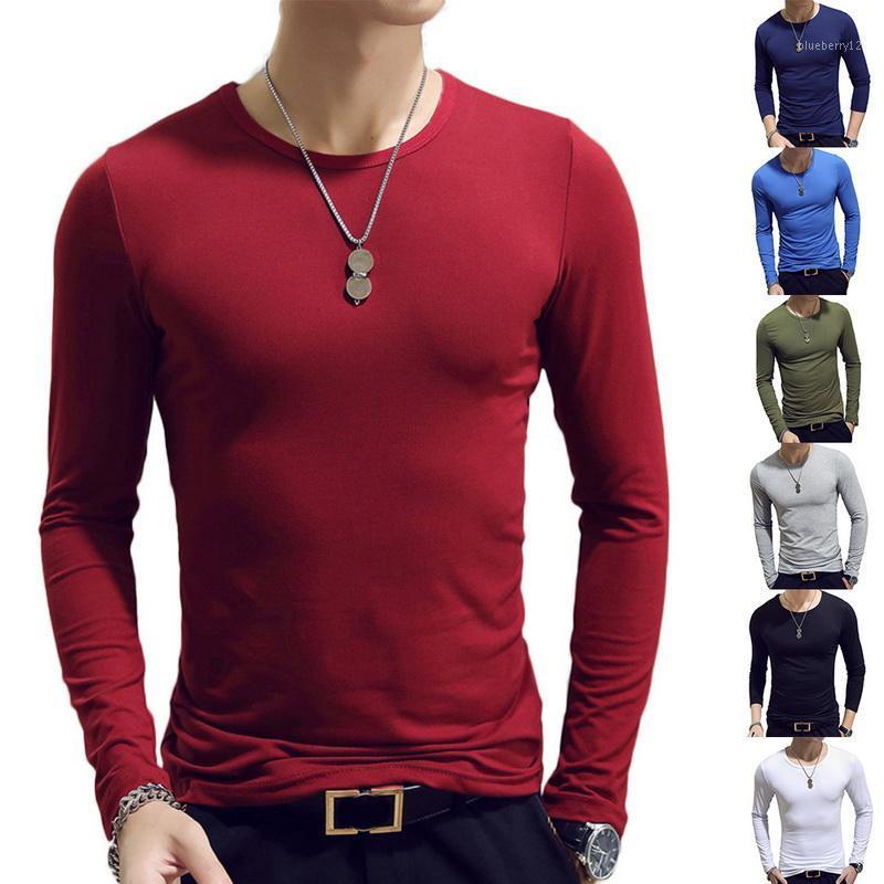2020 Spring Hommes T-shirts à manches longues O-Neck Casual Fitness Jogging T Mode de base solide Courir Homme Haut Vêtements