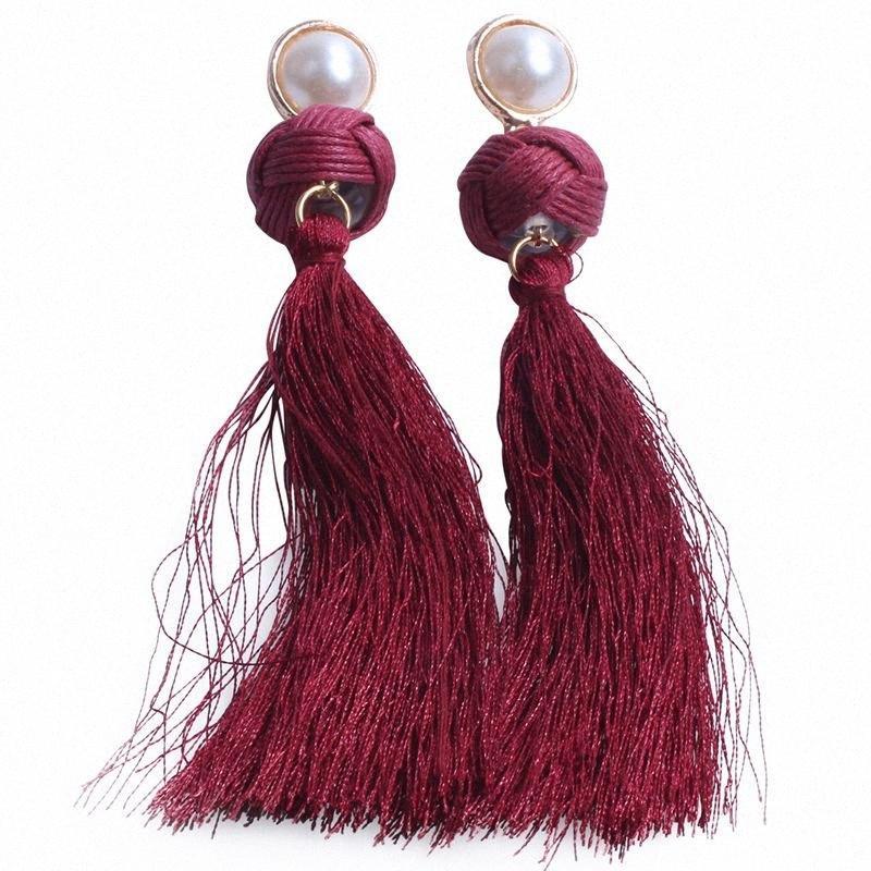 Мода Длинные серьги для ювелирных изделий Свадебные Горячие Продажа Имитация Pearl падение кисточкой серьги gtQF #