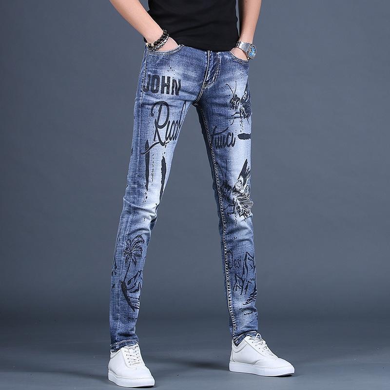Uomo personalizzati pantaloni casual stampato marchio di moda caviglia coreana slim fit alla moda casuali dei jeans, jeans uomini pantaloni Primavera Nuove
