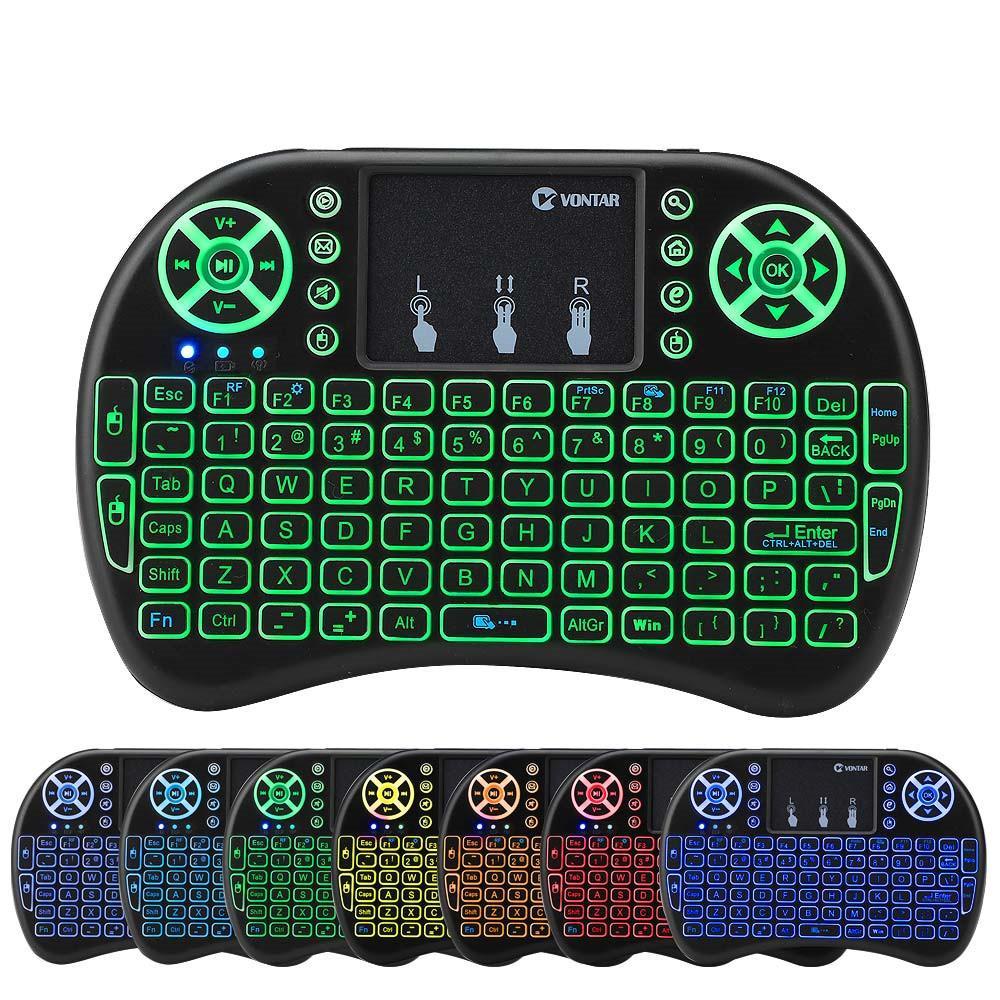 RII I8 Backlit Remote Air Mouse Mini-Tastatur mit Touchpad-Hintergrundbeleuchtung Wireless Control für Android Smart TV-Box MXQ M8S X96 T95 X92 HTPC PS3