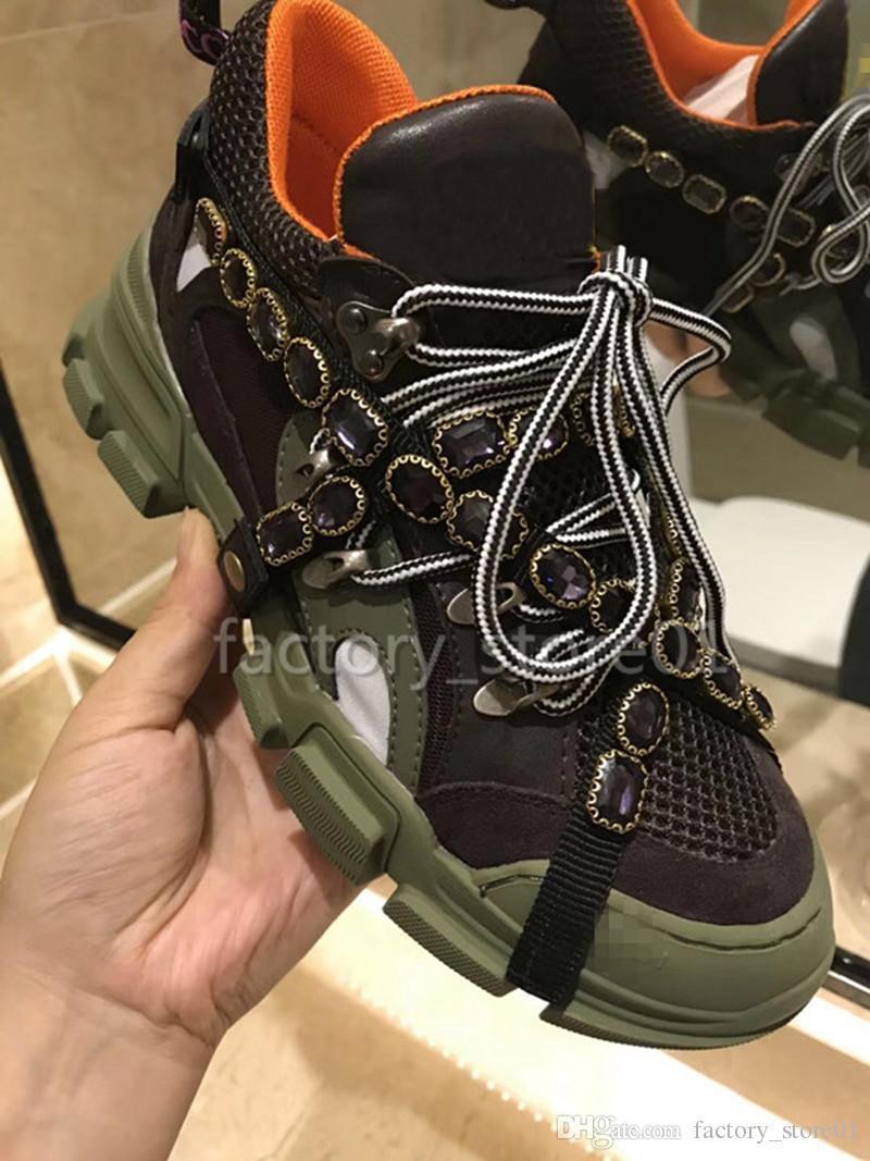 Cristais Designer de luxo Sneakers Montanhismo calçados casuais FlashTrek Sneaker removíveis Men Womens Outdoor Caminhadas Botas Com Box