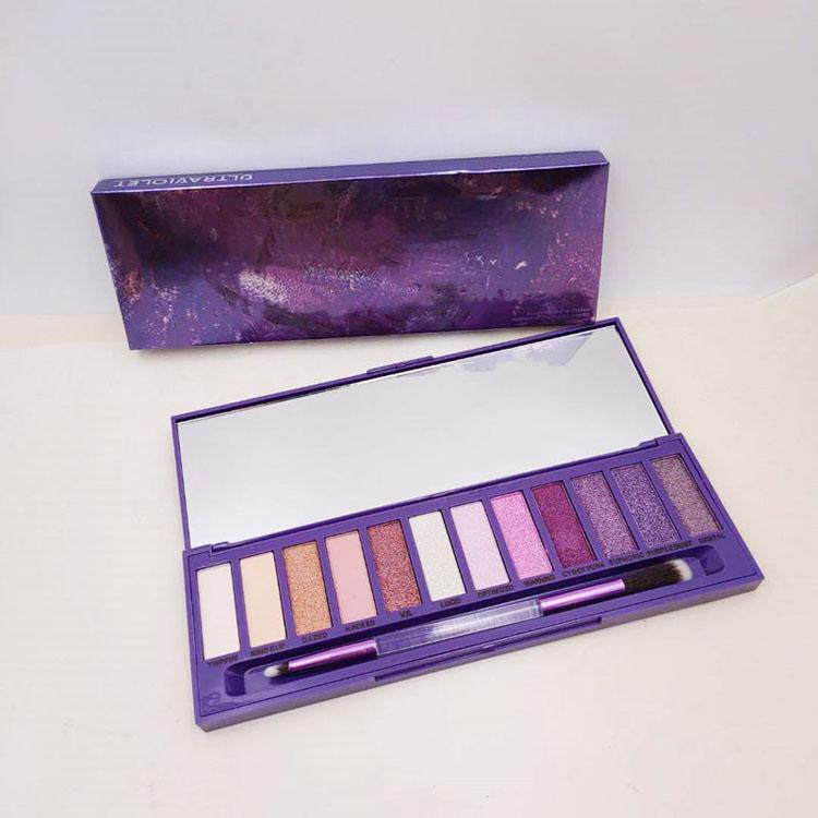 Newest Ultraviolet Purple 12 color eye shadow palette Luminous eye shadow Shimmer Matte high quality free shipping
