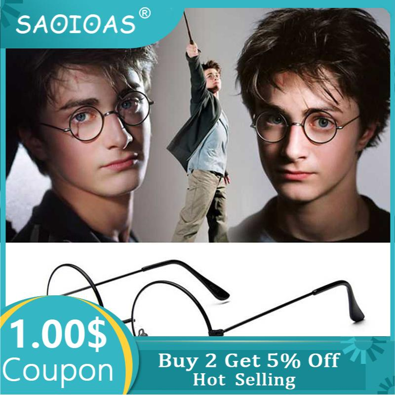 SAOIOAS Fashion Vintage Retro Metal Frame Clear Lens Glasses Nerd Geek Eyewear Eyeglasses Black Oversized Round Circle Eye Glass