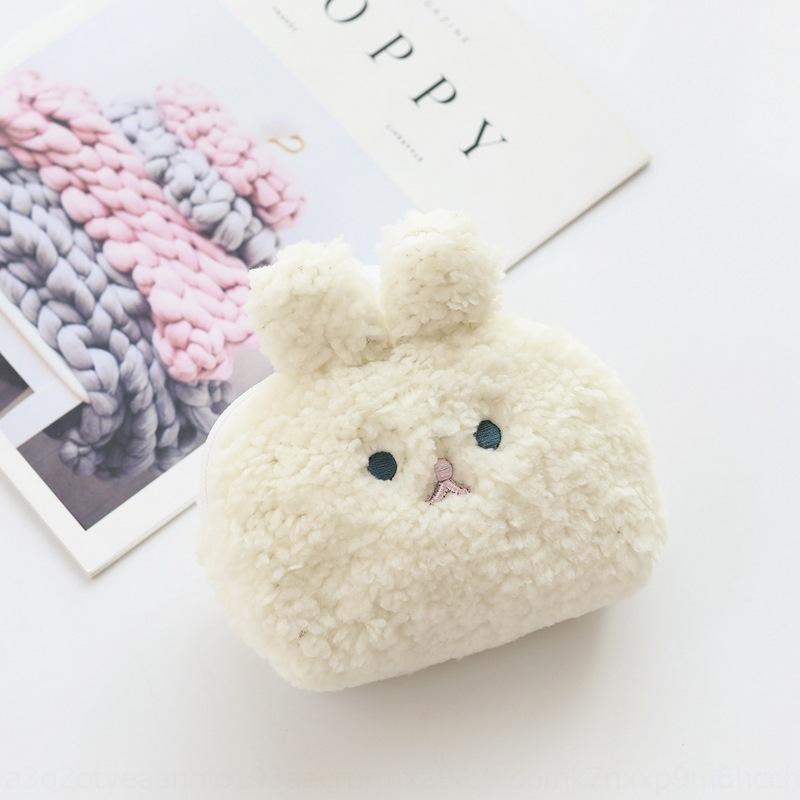 Creative New Smiley cute cotton velvet coin purse rabbit fur shell bag soft cute girl cosmetics glove Gloves wallet wallet bag