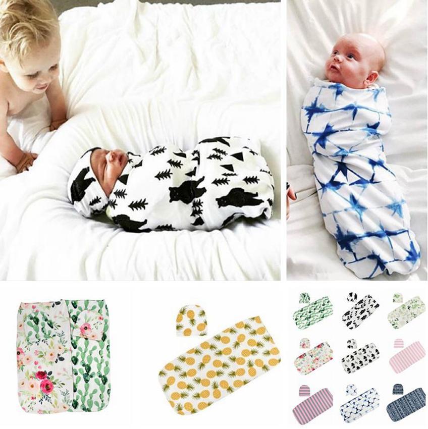الوليد الرضع طفل الأزهار قماط الأعمال العمامة قبعة لينة النوم بطانية التفاف مجموعة طفل كيس النوم KKA7986
