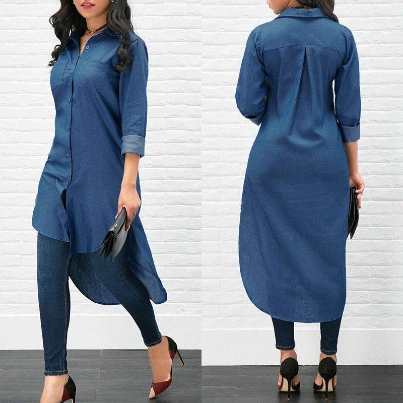 De largo manera de las mujeres dril de algodón de manga larga blusa suelta Señora manera ocasional Jean camisa de la blusa de verano Tops Denim btNq #