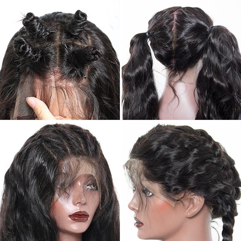 150% falso 13x6 frente del cordón del cuero cabelludo pelucas del pelo humano de Remy del Perú PrePlucked sin cola suelta la onda peluca blanqueados nudos para las mujeres