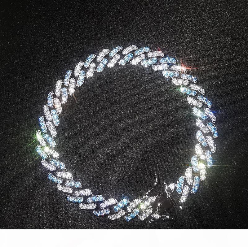 Branco banhado a ouro Bling Ice Out 8 milímetros cúbicos Cadeia Miami cubana Bracelet Link for Men Hip Hop Pulseira presente agradável