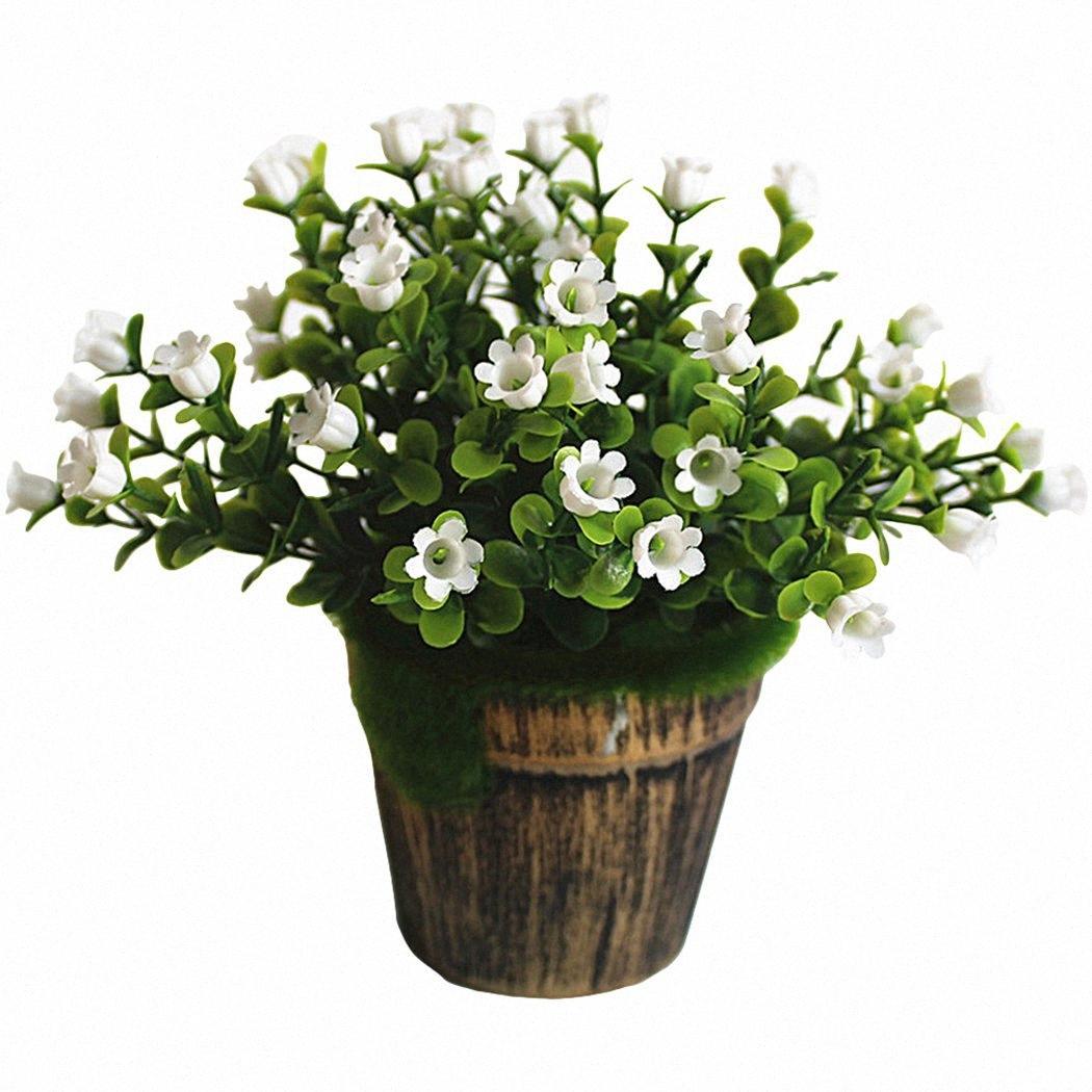 Simulation Lifelike Flowerpot Paysage artificiel Plante en pot en plastique belle fleur artificielle Home Décor Fleur R9L7 #