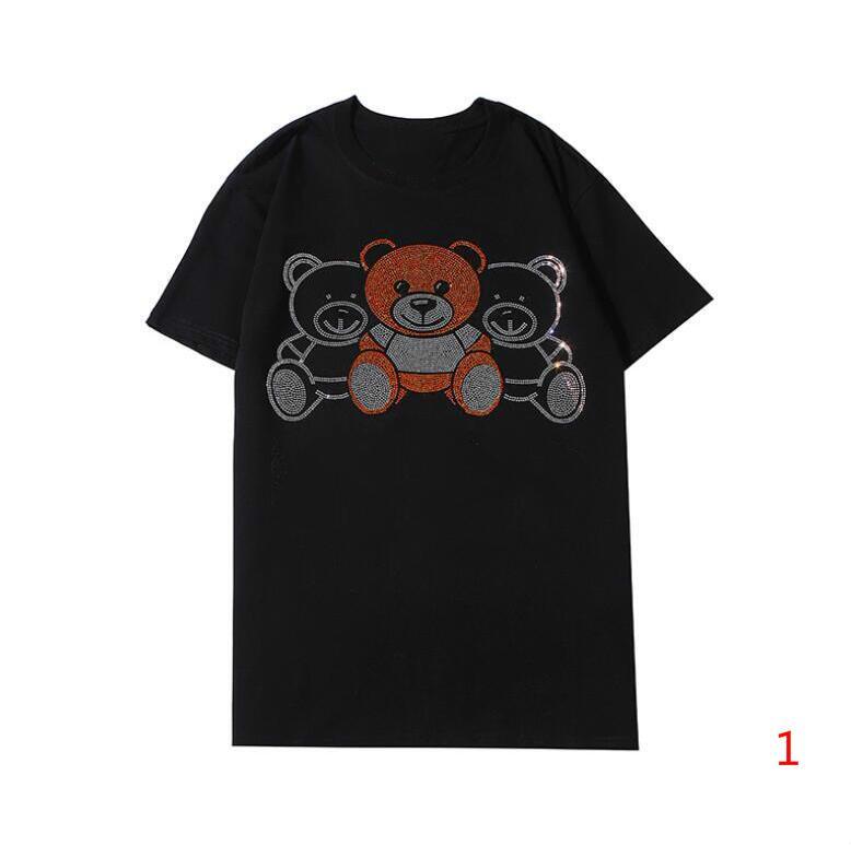 20SS Летние мужские футболки с Letters Мода Италия футболках Casual Мужчины Женщины Топы с Медведи Азиатским Размер S-2XL Вариант