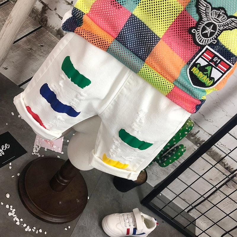 iki parça bir takım son model yelek Boy yelek set yaz 2019 yeni spor engel nefes bebek kolsuz renkli kafes