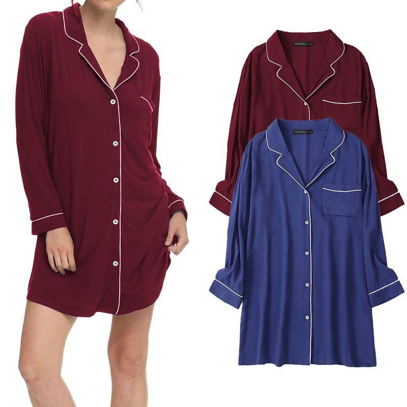 Sleeve Casual Outono completa Pijamas Mulheres Sólidos ZANZEA Nightdress bolso Botões Nightie Nightgown Mini shirt do tamanho Vestidos Além disso,