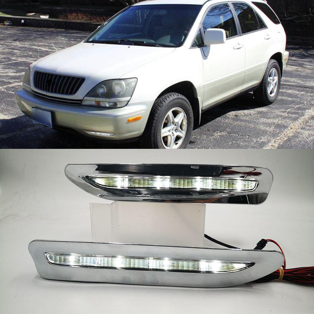 1 pair led النهار الجري ضوء DRL مصباح الضباب الديكور لكزس RX300 RX330 RX350 1998 1999 2000 2001 2002 2003