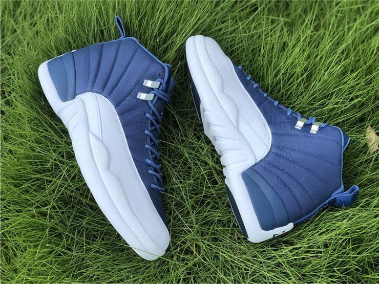 Yeni En İyi Hava Otantik 12 İndigo Taş Mavi Basketbol Ayakkabı Retro Erkekler Legend Mavi Obsidian 12S Gerçek Karbon Elyaf Spor Sneakers ile Kutusu