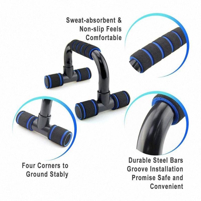 2 pièces en forme de I Push-Ups Bars Sport Fitness Push Up Stands Muscle exerciseur Fitness Equipment pour Home Gym 1rVP #