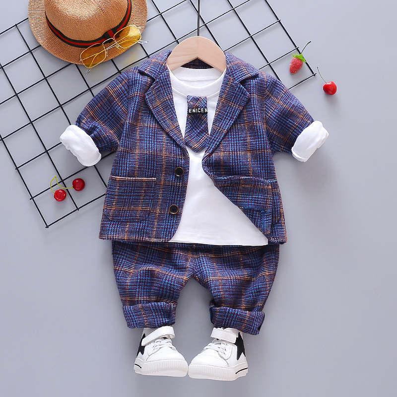 Ensembles de vêtements Bébé Garçon Vêtements Enfants Convient à l'automne Kids Gentleman Style Manteaux T-shirt Pantalons 3PCS / Set Enfant Garçons Tenues