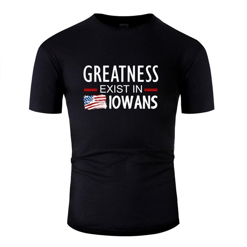 Llegada nueva camiseta Hombre traje de fitness Niño Niña grandeza existe en los habitantes de Iowa camisetas de manga corta Negro T-Tops