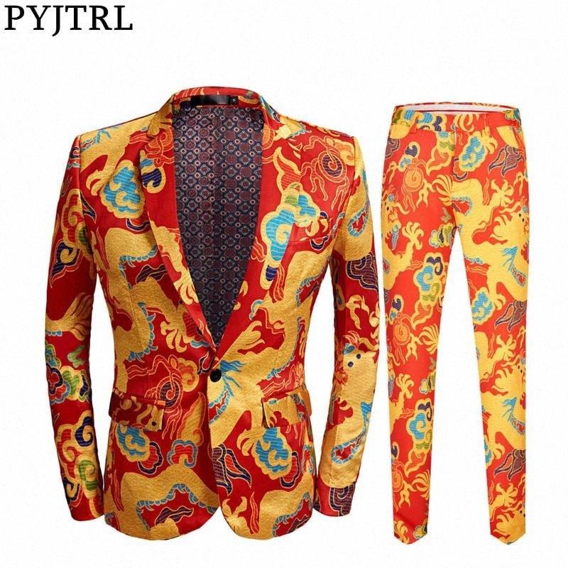 PYJTRL Chinese Style Red Dragon Print Suit Men Stage Singer Wear 2 Pieces Set Slim Fit Wedding Tuxedo Costume Homme uemp#