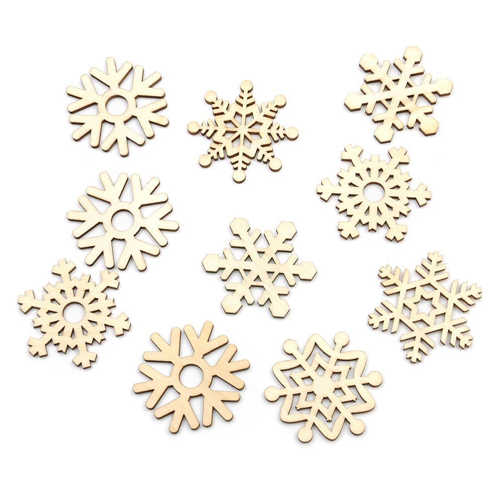10pcs sortierte hölzerne Schneeflocke Weihnachtshochzeits-Baum hängende Verzierung Partei-Dekor Zufallstypart