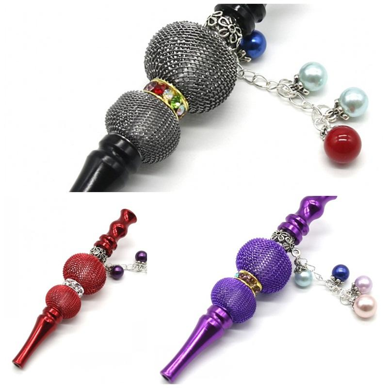 Fashion Shine Smoking Pipe Tools Easy To Carry Cigarette Holder Filter Hookah Shisha Hand Inlaid With Colored Diamonds 12kl D2
