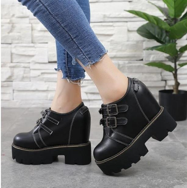 Honey, why haven't you thought it over yet2020 spring new inner increase women's shoes thick-soled 12cm super high-heeled wedge deep-mouth c