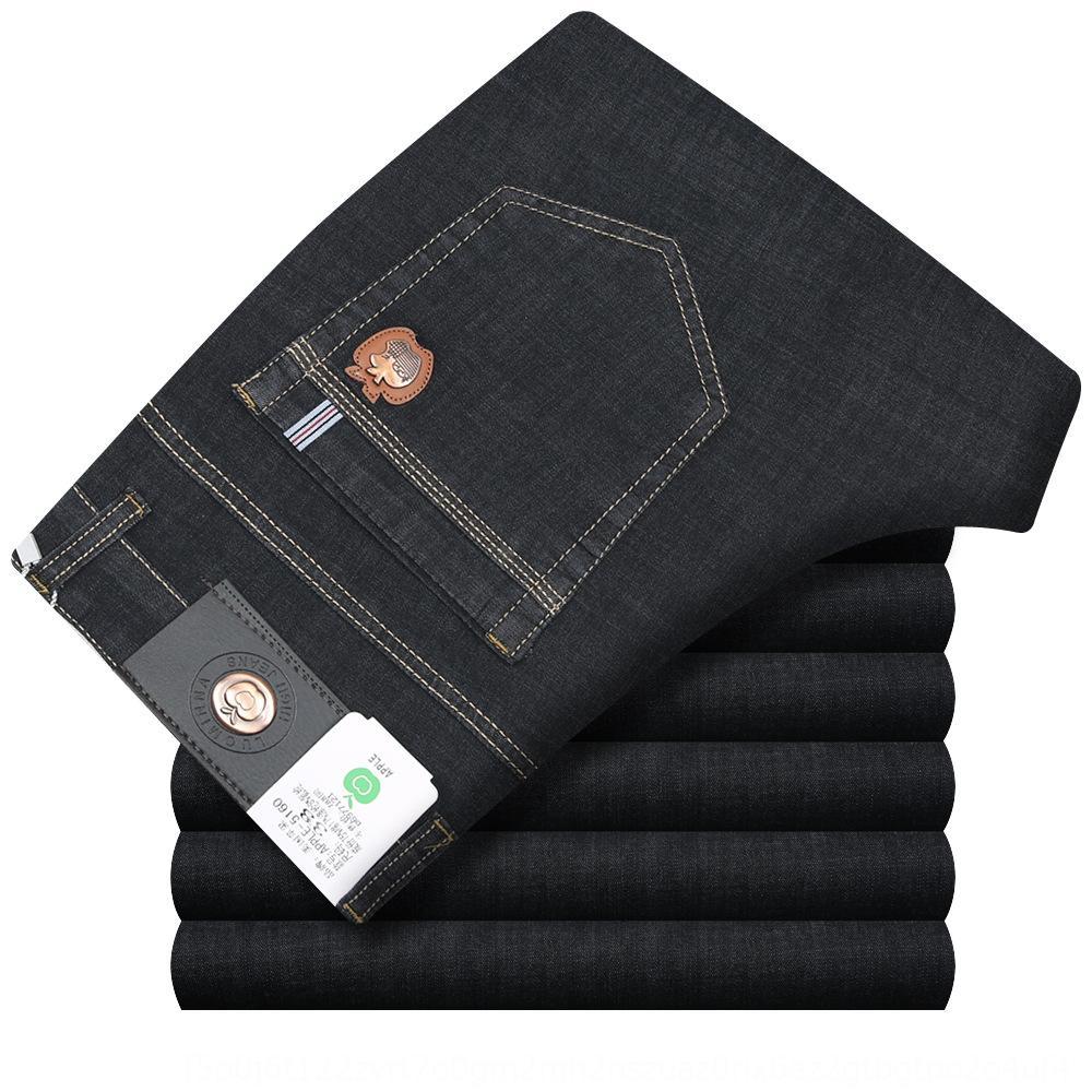 cw9Si Новые брюки мужские тонкие и растягиваться моды все-матчевую мужские джинсовые и джинсы летние прямые джинсы длинные брюки против морщин нон глажения