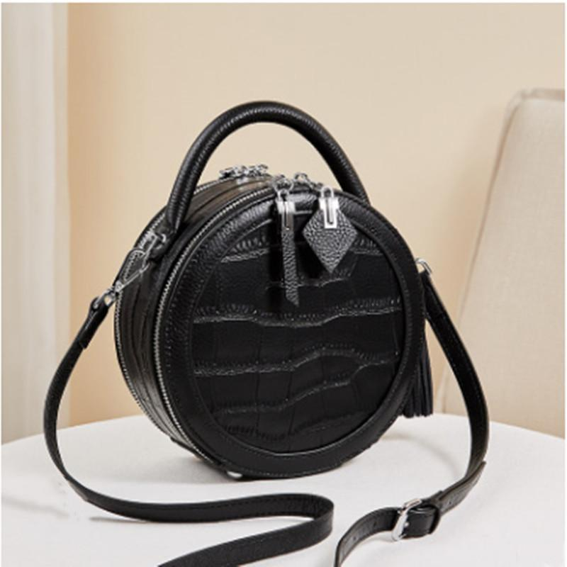 E5 Nalandu Fashion handbag 2020 new fashion small round bag women s slung leather crocodile pattern black handbag trend