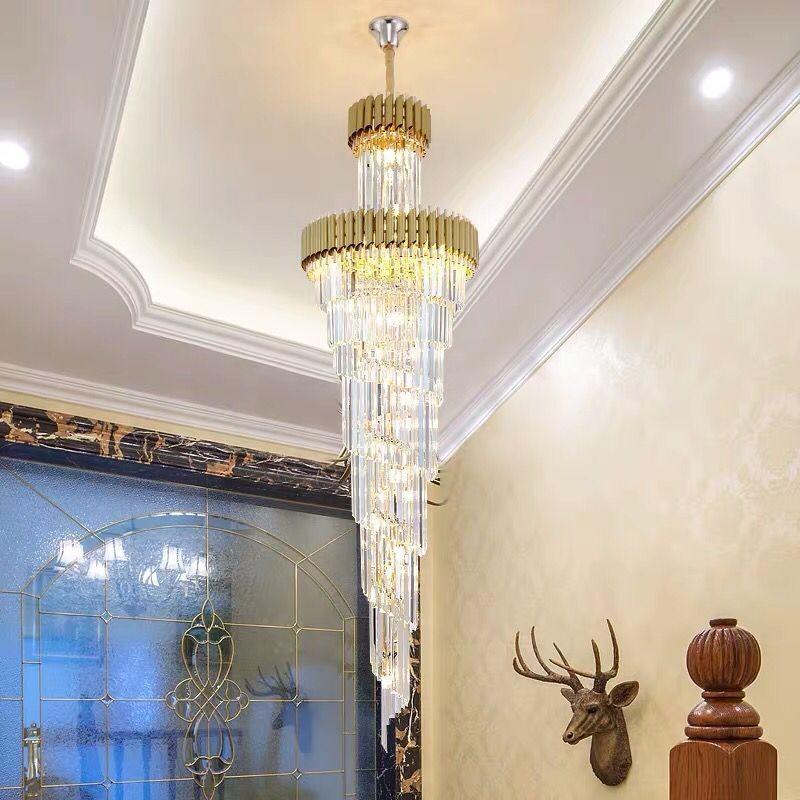 Neues Design moderner Luxus großen Kristall-Kronleuchter Gold-Anhänger lange schwarze Kronleuchter Kristall-LED-Lampe für Hotelhalle nach Hause Treppe Beleuchtung