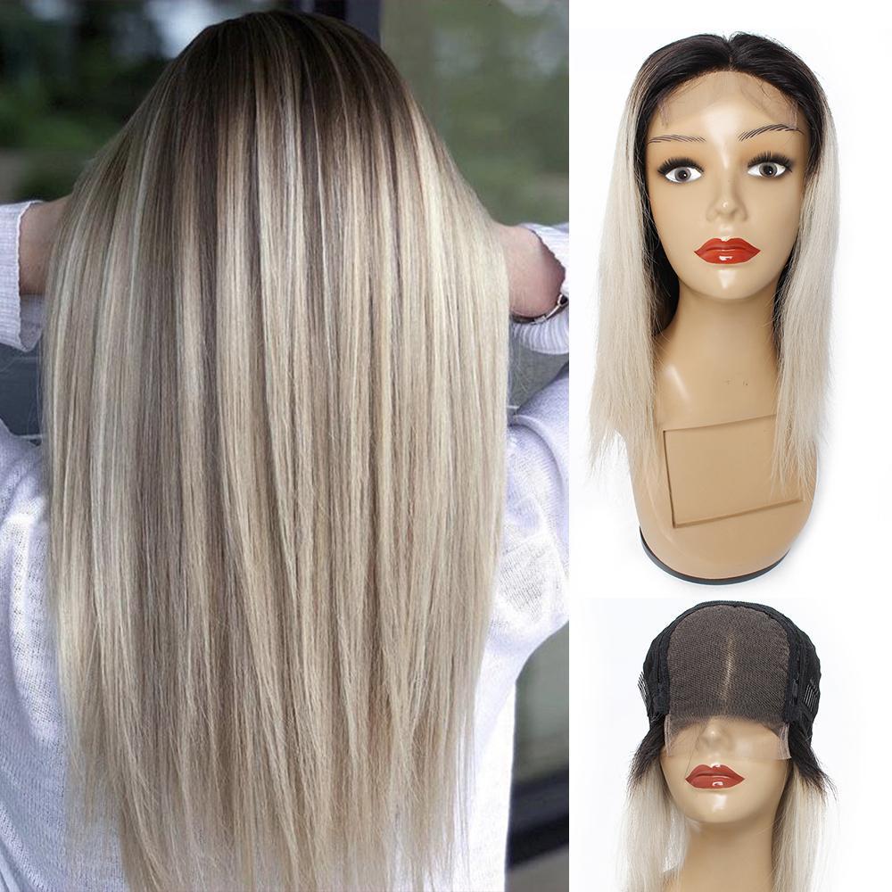 인도 인간의 머리 실버 그레이 레이스 정면 가발 가발 KISSHAIR 1B 회색 선염 컬러 헤어 가발 4 × 4 레이스 폐쇄