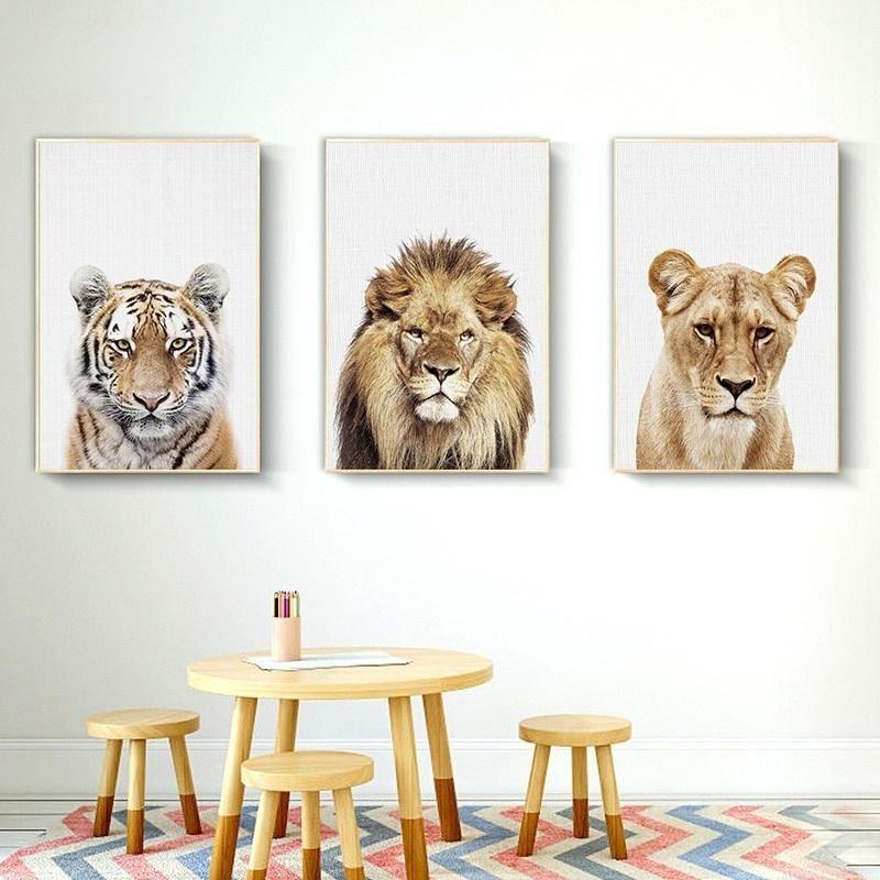 3 Paneller Çocuk Odası Çocuk Ev Dekorasyonu için Jungle Aslan Kaplan Hayvan Tuval Kralı Vahşi Posterler Boyama ve Baskılar Wall Art Resimleri