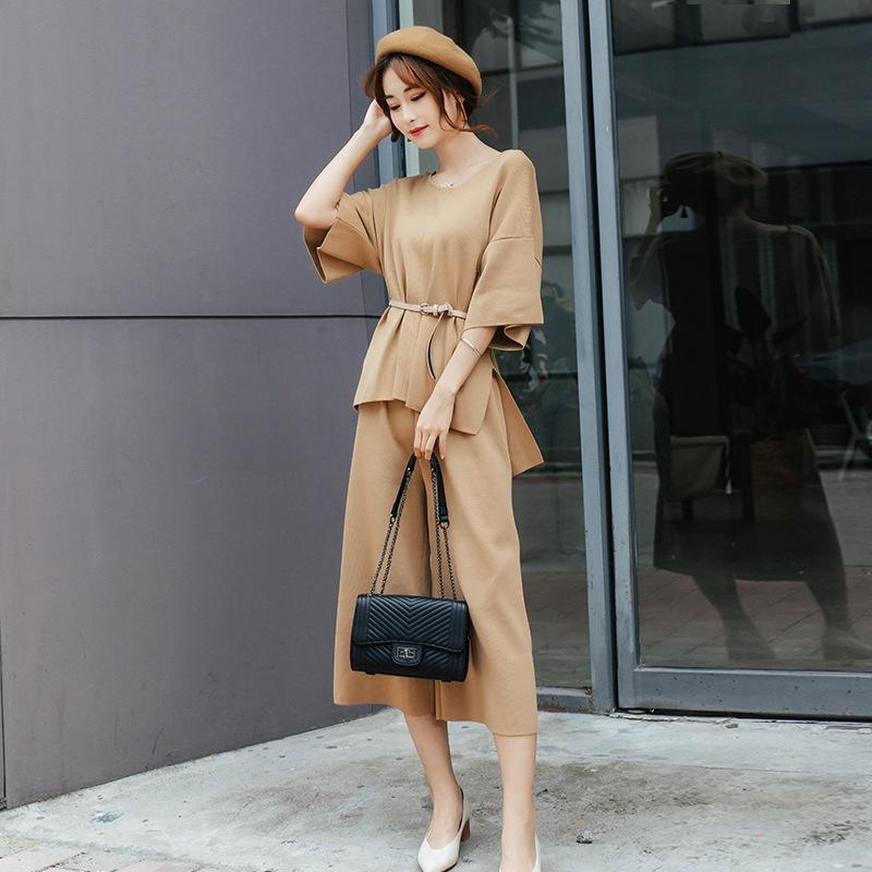 JIE1Z Early Autumn calças de colarinho V manga morcego mulheres soltas + top wide malha terno de duas peças calças largas perna de cima perna larga nova