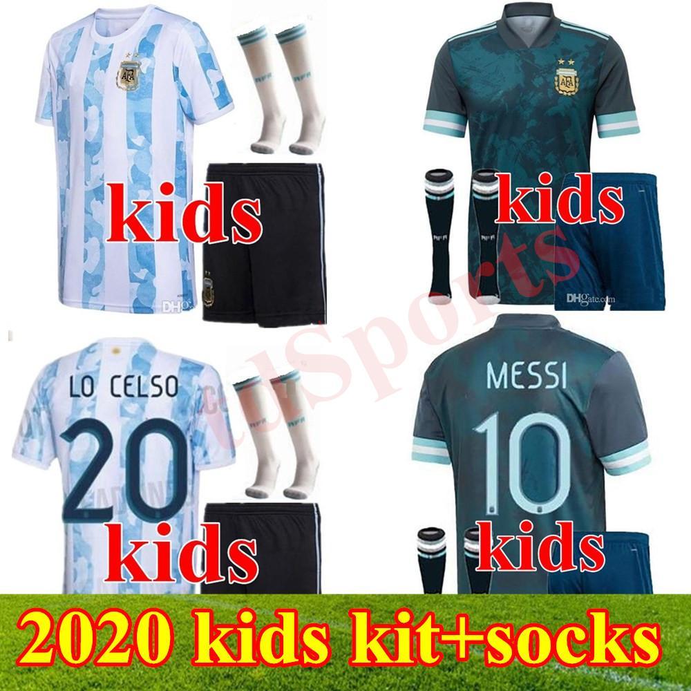 Copa América 2020 2021 Criança Argentina Soccer Jersey Kits Kits + Meias 20 21 Messi Dybala Maradona Aguero di Maria Higuain Camisas de futebol