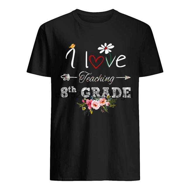 Primera Escuela Feliz Día Amo el enseñar 8vo grado flor camiseta