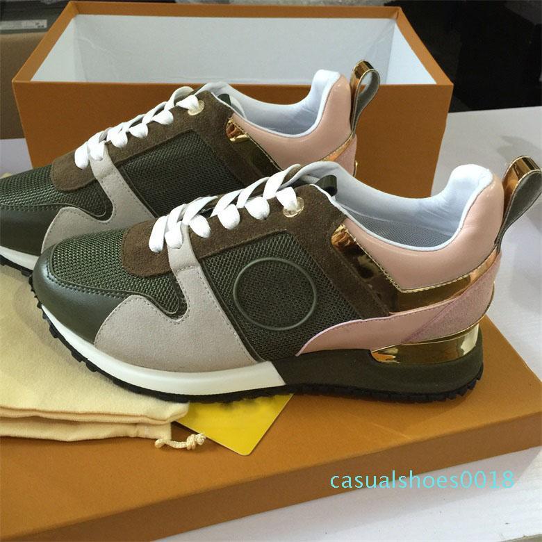 Run Away Designer scarpe da ginnastica scarpe di cuoio donna reale degli uomini delle scarpe da tennis degli appartamenti delle donne di lusso del progettista dei pattini casuali scatola C18 originale