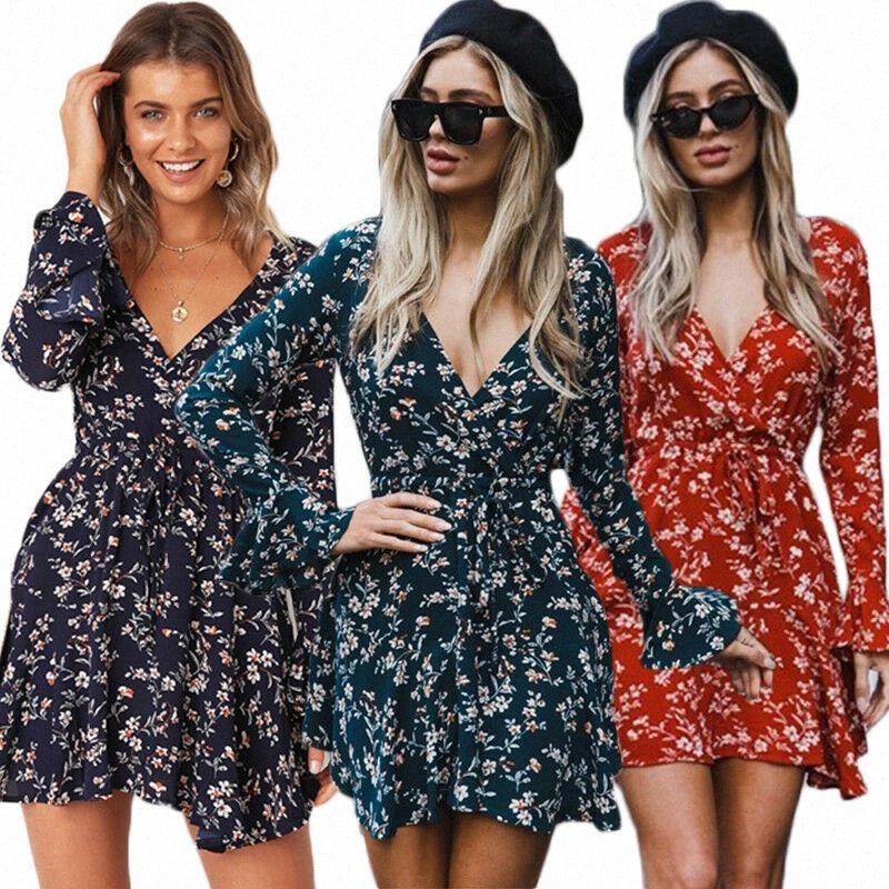 2020 Boho floral del verano vestido de gasa de las mujeres de manga larga con cuello en V a corto Mini vestido de novia informal partido de los vestidos de América Ropa HqTX #