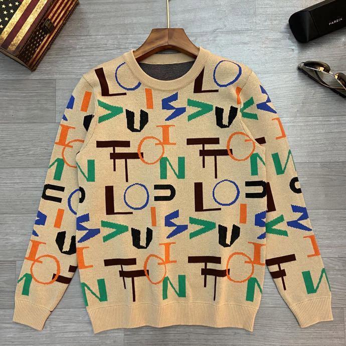 Calidad Suéter de manga larga bordado de la letra de tejer suéter de impresión Pareja de mujeres 20ss de los hombres de hombres de la moda suéter